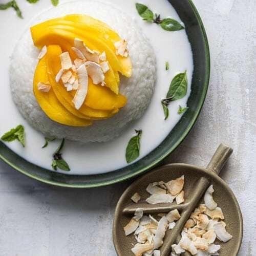 Sticky rijst met mango